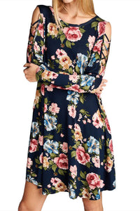 Floral Print Swing Dress With Crisscross Straps
