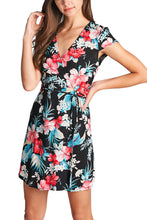 Black/Red Floral Cap Sleeve Wrap Dress