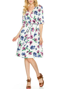 Floral Print Waist Tie Dress - Plus