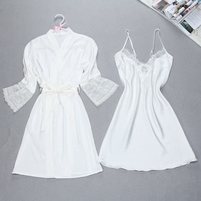 Fiklyc brand sexy women's robe & gown sets twinest bathrobe + mini night dress two pieces sleepwear womens sleep set faux silk