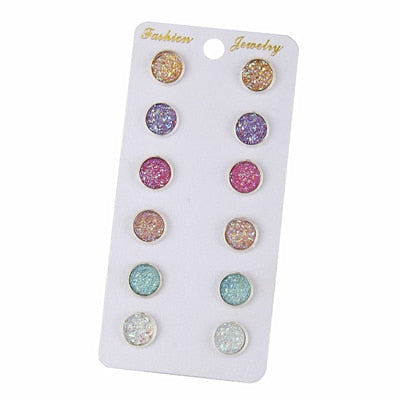 Stud Earrings - 6 Pairs / Set Mixed Color Cute Round
