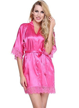 Sexy Wedding Dressing Gown Women Short Satin Bride Robe Lace Silk Kimono Bathrobe Summer Bridesmaid Nightwear Plus Size Peignoir