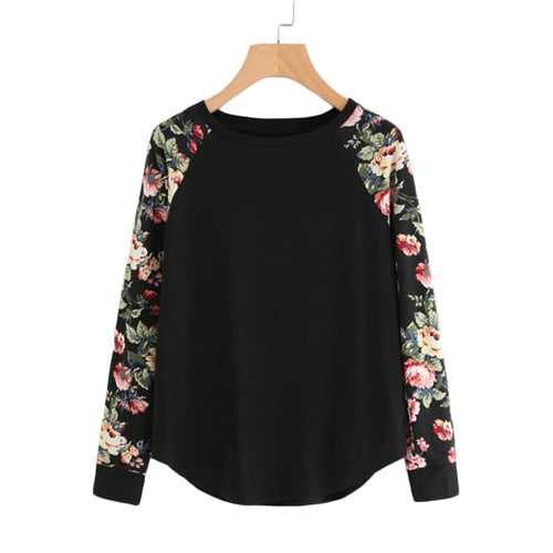 Floral Raglan Sleeve Curved Hem Womens Tee Shirts Autumn Womens T shirts Casual Ladies Black Long Sleeve T shirt