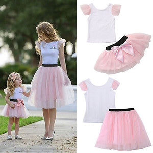 2pcs Fashion Mother Daughter Summer T-shirt+Bow Tulle Skirt