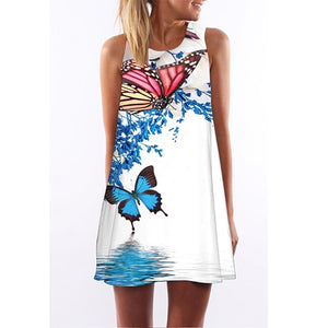 BHflutter Sleeveless Boho Beach Dress Women Floral Print Mini Summer Dress 2018 New A line Casual Chiffon Dresses Vestidos Mujer