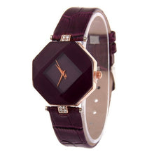 Women Watches Gem Cut Geometry Crystal Leather Quartz Wristwatch