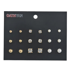 OATHYAN 30 Pairs/set Classic Women's Round Ball Metal Pearl Earrings For Women Girl Gifts Crystal Stud Earring Sets Mix Jewelry