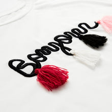T shirt Women Tops Summer O-neck T shirt Batwing Sleeve Tassel Detail Embroidery Dolman Top White Short Sleeve T-shirt