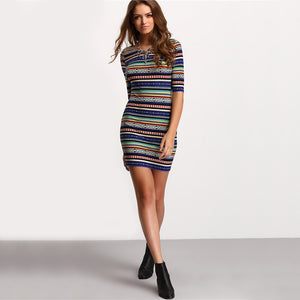 Womens Summer Stripe Dress, Round Neck, Half Sleeve, Backless Bodycon Dress
