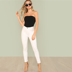 Black Sexy Skinny Mid Waist Women Bodysuits 2018 Summer Party Go Out Slim Fitted Plain Sleeveless Strapless Bodysuit New