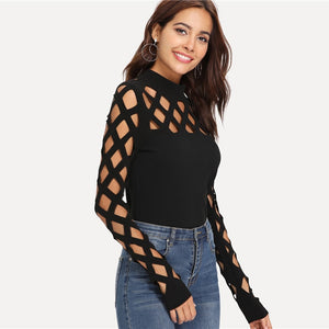 Black Streetwear Party Elegant Sexy Workwear Square Cutout Shoulder Fitted Skinny Tee Autumn Women Office Lady T-shirt Top