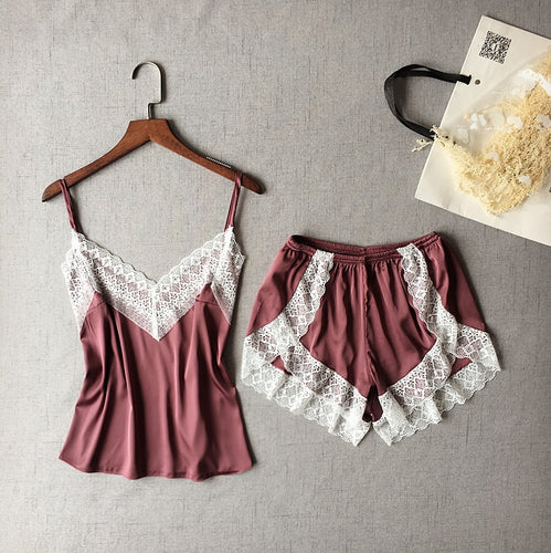 Lisacmvpnel Sexy Patchwork Lace Women Shorts Pajama Set Breathable Spaghetti Strap Female Lingerie