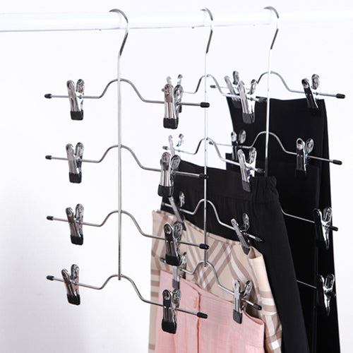 1PC Multi-Functional Four Layer, Stainless Steel, Hanger Rack With 8 Clips Storage Organizer