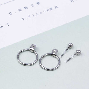 Round Metal Stud Earrings
