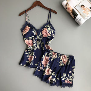 Printing Spaghetti Strap  Women Pajama Set V-Neck Sexy With Pad Female Summer Pajamas