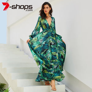 Summer Beach  Maxi Dress, Women Deep V Neck Print Party Dress, Long Dress