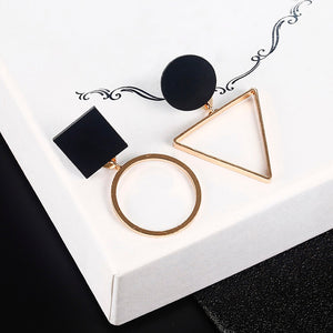New Fashion Geometric Stud Earrings For Women Round Triangle Design Elegant Earrings For Birthday Wedding Gift Brincos