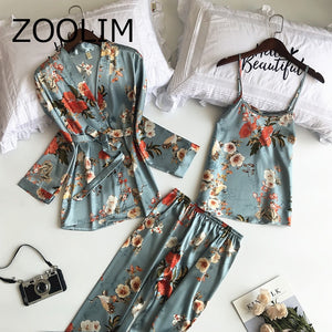 New 3 PCS Women Pajama Set, Satin Flower Print Nightwear