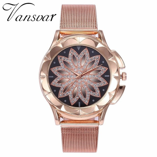 Fashion Rose Gold Flower Rhinestone Women Watches