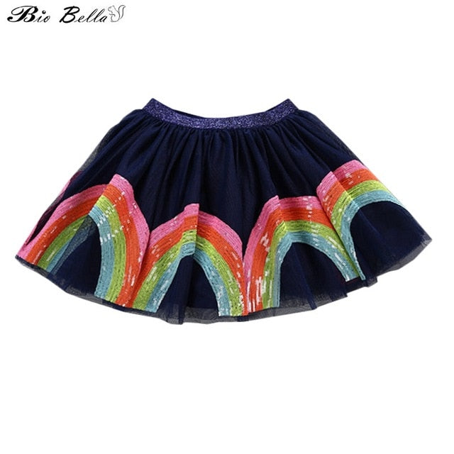Princess Cute Summer Fashion Skirt New Lovely Sweet Children Vestidos Kids Girls Costume Skirts Sequin Embroidery Tutu Skirts