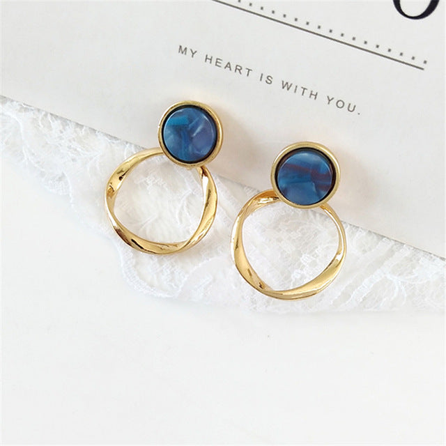 Fashion quality twist ring resin Earring Earrings exquisite girls, retro metal earrings, earrings, jewelry wholesale