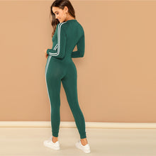 Green Highstreet Raglan Sleeve Striped Side Zip Front Mid Waist Long Sleeve Jumpsuit Autumn Fashion Party Women Jumpsuits