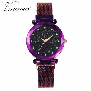 Women Mesh Magnet Buckle Starry Sky Watch
