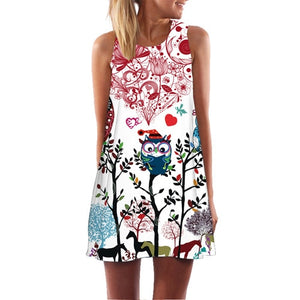 BHflutter Black Red Floral Print Dress Women Fashion Sleeveless Casual Loose Summer Dress A-line Party Dress vestidos mujer 2018