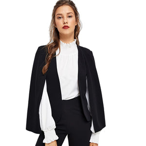 Black Poncho Office Lady Streetwear Cloak Open Front Blazer 2018 Autumn Elegant Modern Lady Workwear Women Coats Outerwear