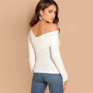 White Asymmetrical Neck Solid Tee Rib-Knit Slim Fit Party Casual Pullover Long Sleeve Shirt 2018 Autumn Women Tshirt Top