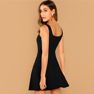 Black Fit And Flare Solid Dress Elegant Straps Sleeveless Plain A Line Dresses Women Summer Autumn Zipper Short Dress