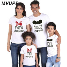 Casual family matching clothes daddy mama mini mouse mommy and me short tshirt printing woman Fashion baby girl dress big Sister