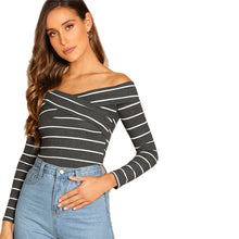 Going Out Highstreet Elegant Cross Wrap Off the Shoulder Striped Pullovers Tee Autumn Women Casual Women Tshirt Top