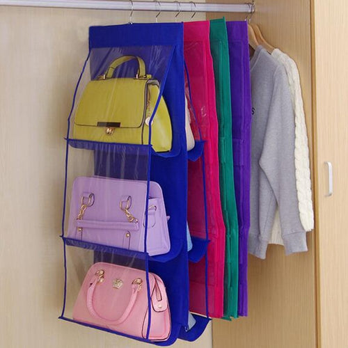 Double Side Transparent 6 Pocket Foldable Hanging Handbag Purse Storage Bag Sundry Tidy Organizer Wardrobe Closet Hanger