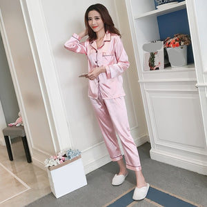 Silk Pajamas, Satin Women Pajama Set, Long Sleeves, Turn-down Collar