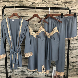 Women Satin Sleepwear, 5 Piece Pajamas, Sexy Lace Pajamas