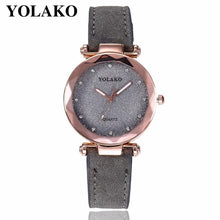 Women Romantic Starry Sky Wrist Watch Leather Rhinestone