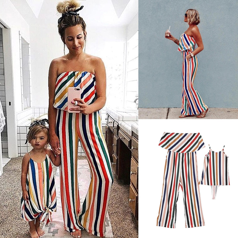 Mother and Daughter - Off-Shoulder Striped Jumpsuit and Dress Matching Family Outfit