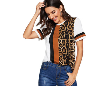 White Color Block Cut-and-Sew Leopard Panel Top Short Sleeve O-Neck Casual T Shirt Women 2019 Summer Leisure Tshirt Tops