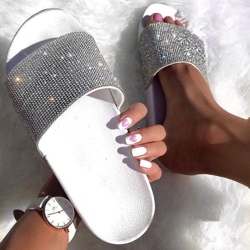 Rhinestone Women Slippers Flip Flops Summer Slides