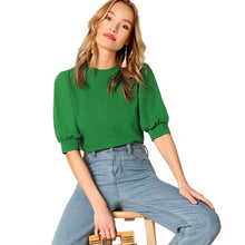 Ladies Casual Green Puff Sleeve Keyhole Back Solid Top And Blouse Women 2019 Summer Workwear Half Sleeve Elegant Blouses