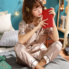 Short Sleeve Silk Pajamas Spring Women Summer Pajama Sets Silk Pijama Sleepwear Pyjamas Plus Size 3XL 4XL 5XL 85kg Nightwear Set