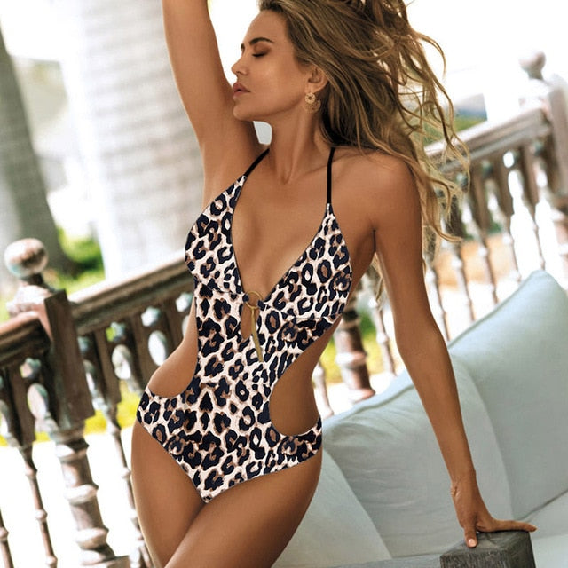 One Piece Swimsuit, Deep V Monokini Bodysuit Backless Bathing Suit Beach Wear, High Cut Swimsuit