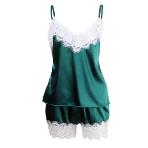 Sexy Summer Lace Pajamas Sleepwear for Women Sleeveless Spaghetti Strap Pyjamas Satin Cami Top + Shorts Pajamas Sets Nightwear