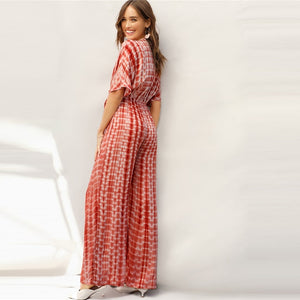 Rust Plunging Neck Knot Front Tie Dye Palazzo Jumpsuit Spring Deep V Neck Solid High Waist Maxi  Wide Leg Jumpsuits