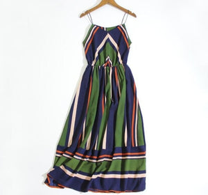 Women summer holiday dress striped long dresses summer beach dress