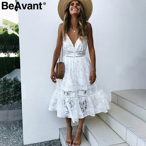 BeAvant v neck sexy lace summer dress women Strap button casual white dress female Streetwear backless midi dress vestidos 2018