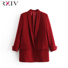 RZIV Spring women's blazer suit jacket coat casual solid color single button coat OL blazer suit
