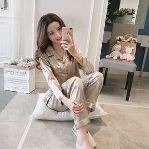 Womens Silk Satin Pajamas Set, Long Sleeve Sleepwear