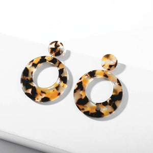 Vintage Leopard Acetate Resin Geometric Large Polygonal Stud Earrings For Women Acrylic Tortoiseshell Pendientes Wedding Jewelry